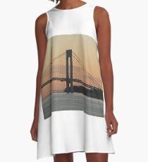#bridge, #architecture, #water, #city, #usa, #california, #WerrazanoNarrowsBridge, #suspension, #river, #sky, #bay, #landmark A-Line Dress