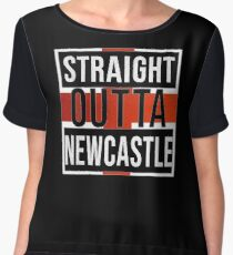 Straight Outta Newcastle Upon Tyne Retro Style - Gift For An Englishmen , Englishwomen, From Newcastle Upon Tyne in England , Design Has The English Flag Embedded Chiffon Top
