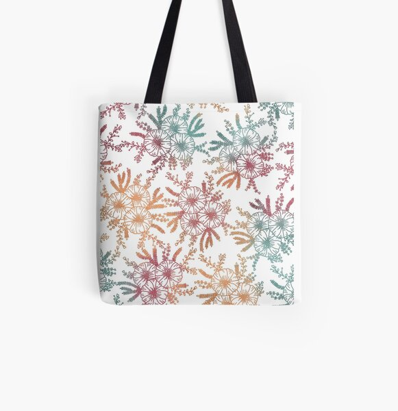 Rainbow Moss Roses All Over Print Tote Bag