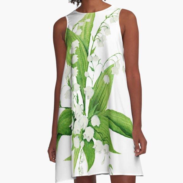 Weiße Maiglöckchen A-Linien Kleid