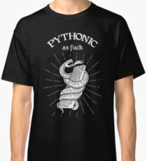 Python developer oldschool snake and keyboard T-Shirt. Funny T-Shirt for Python programmers Classic T-Shirt
