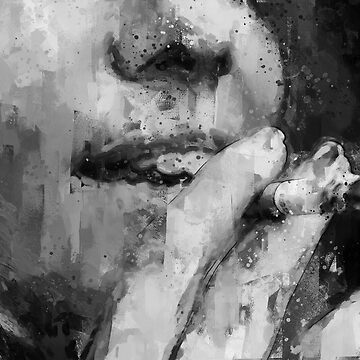 girl smoking cigarette black and white painting - illustration by ohaniki