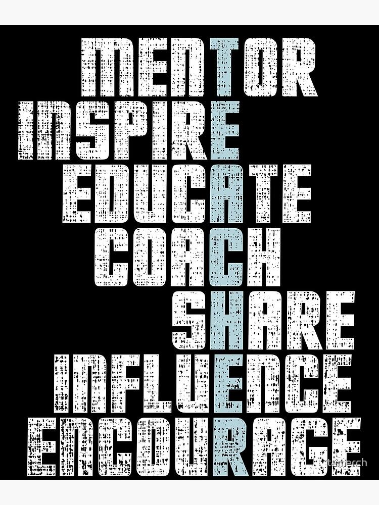 """teacher mentor inspire words crossword teacher"" poster"