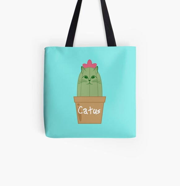 Cat And Cacti Tote Bag Emerald ~ Cat Gift ~ Cactus Plants