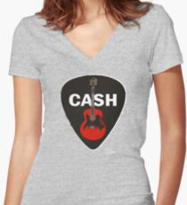 Cash Guitar and Pick Women's Fitted V-Neck T-Shirt