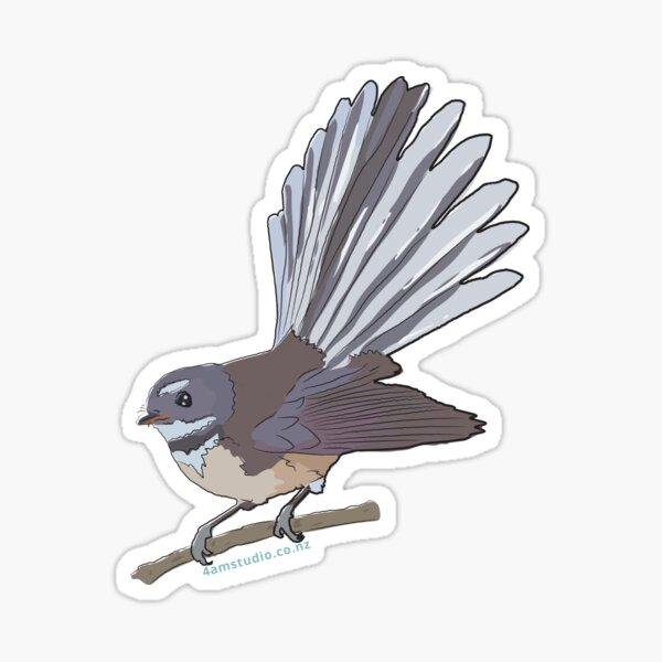Hand Drawn New Zealand Fantail Bird Sticker