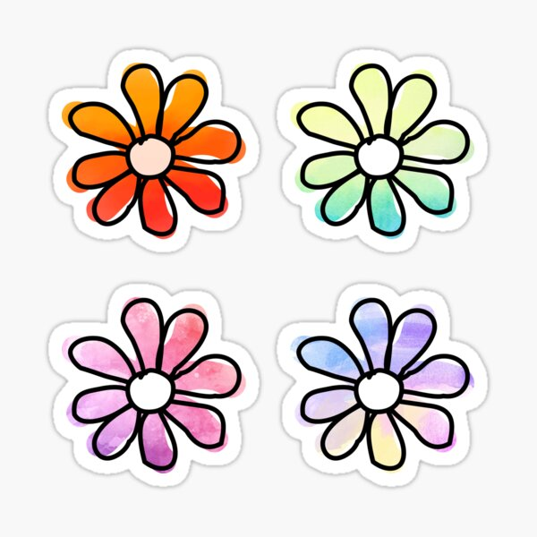 Watercolor Flowers — 4 Pack Sticker