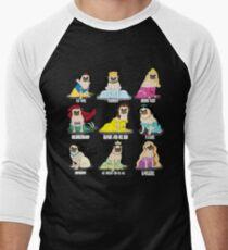 Camiseta ¾ bicolor para hombre Princesas Pug