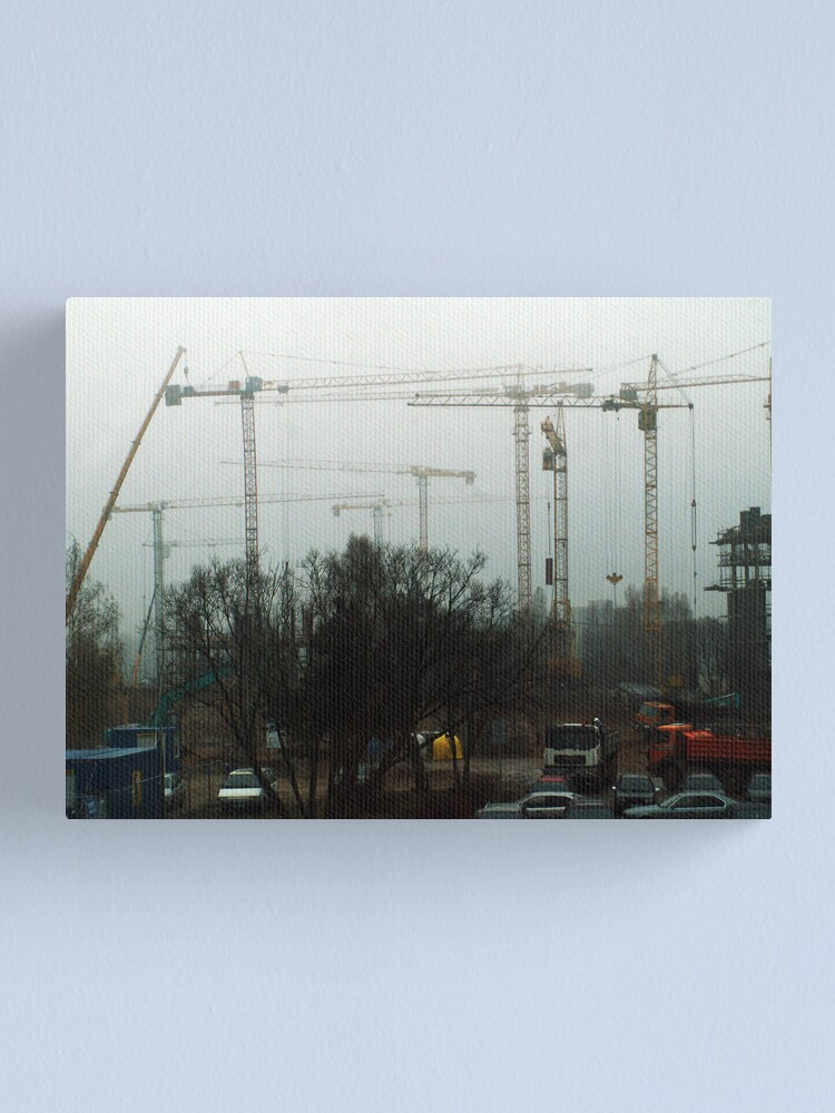Alternate view of Cranes in foggy Canvas Print