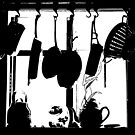 Kitchen Window Silhouette - Black on White or Colors by Douglas E.  Welch
