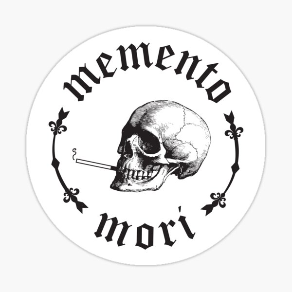 Memento Mori Smoking Skull Sticker