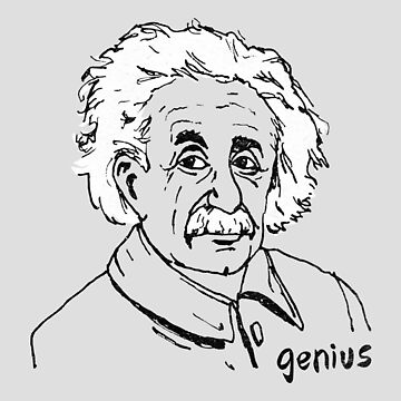 Genius Albert Einstein Hand Drawn Illustration by ImaginaryAnimal