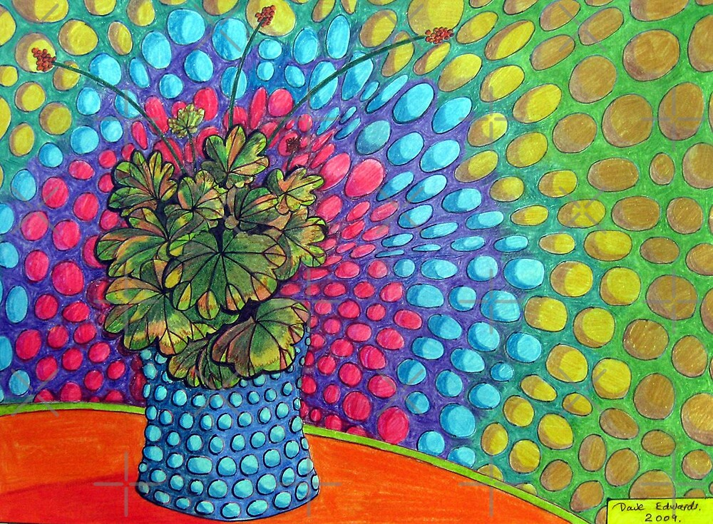 268 - POP ART PELARGONIUM - DAVE EDWARDS - COLOURED PENCILS & FINELINERS - 2009 by BLYTHART