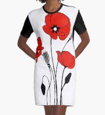 Red Poppy Graphic T-Shirt Dress