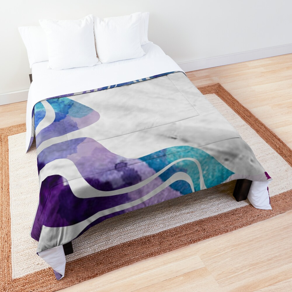 Abstract Watercolour Lines Comforter