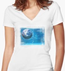 earth first Women's Fitted V-Neck T-Shirt