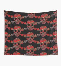 TETE DE MORT ROUGE Wall Tapestry