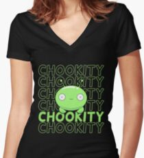 Mooncake Chookity - FinalSpace Women's Fitted V-Neck T-Shirt