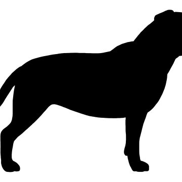 Black Staffordshire Bull Terrier Silhouette by ShortCoffee