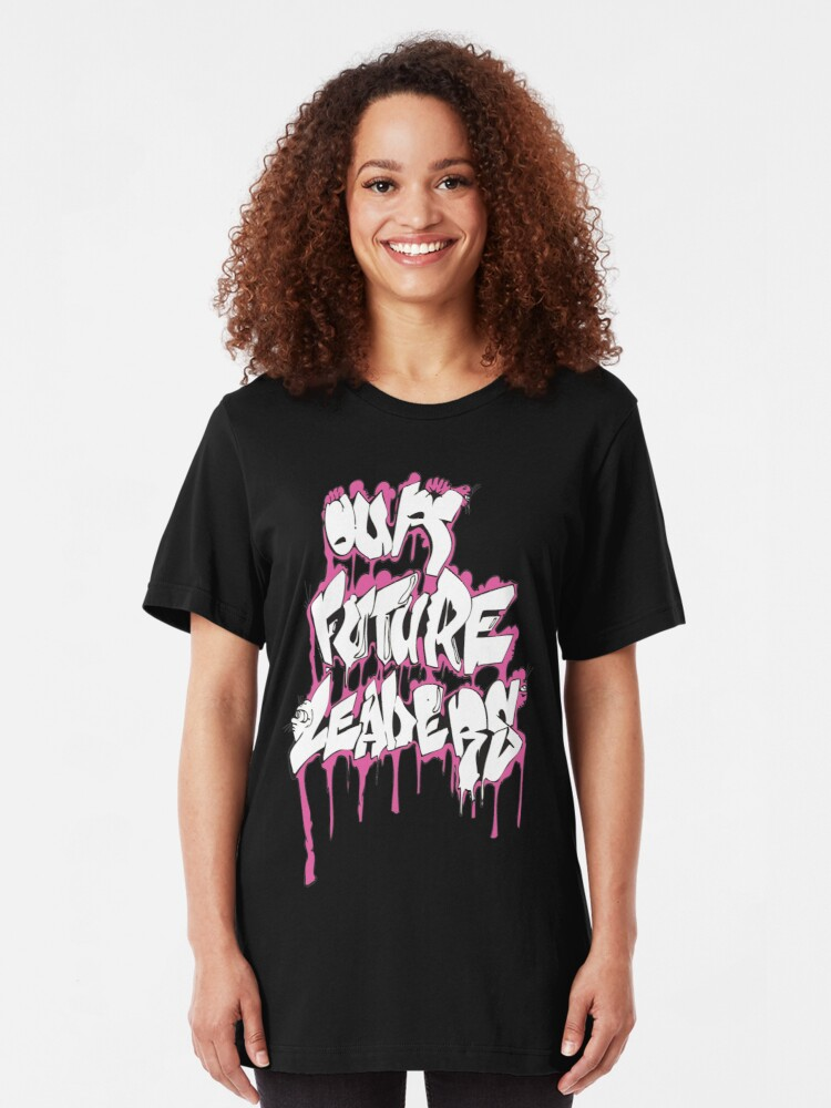 Alternate view of Our Future Leaders Graffiti Pink Slim Fit T-Shirt