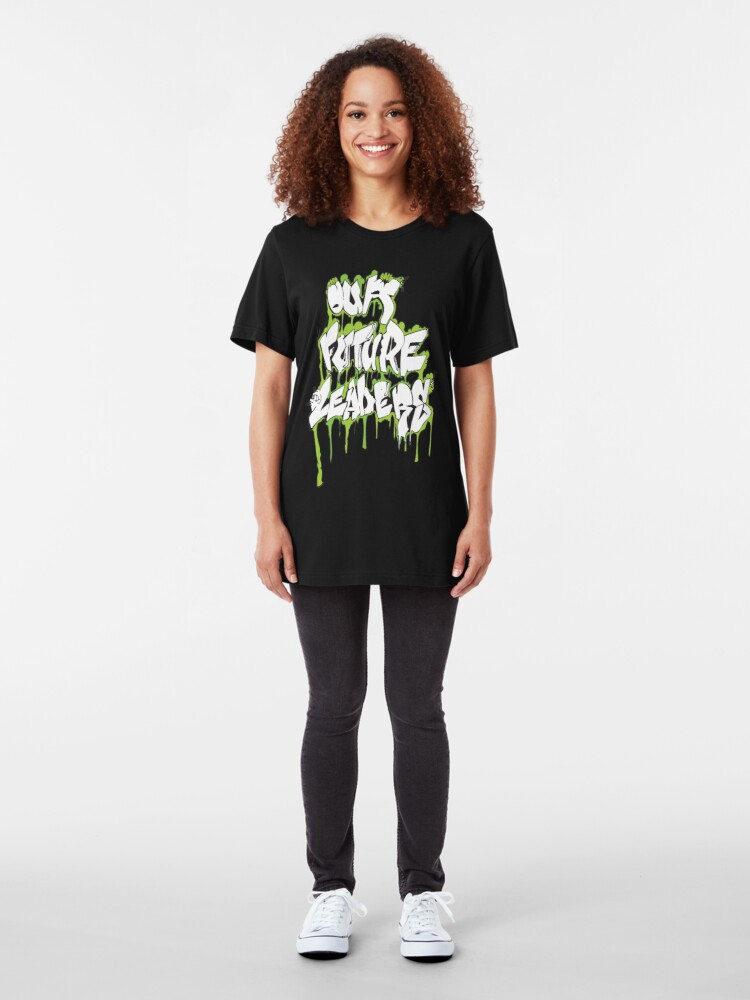 Alternate view of Our Future Leaders Graffiti Green Slim Fit T-Shirt