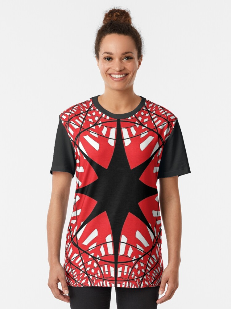Alternate view of #abstract, #star, #christmas, #pattern, #design, #light, #decoration, #holiday, #blue, #illustration, #black, #white, #chess, #checkered, #pattern, #abstract, #flag, #board Graphic T-Shirt
