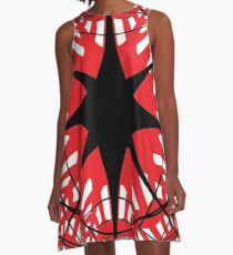 #abstract, #star, #christmas, #pattern, #design, #light, #decoration, #holiday, #blue, #illustration, #black, #white, #chess, #checkered, #pattern, #abstract, #flag, #board A-Line Dress