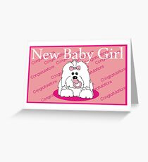 New Baby Girl Coton de Tulear PINK  Greeting Card