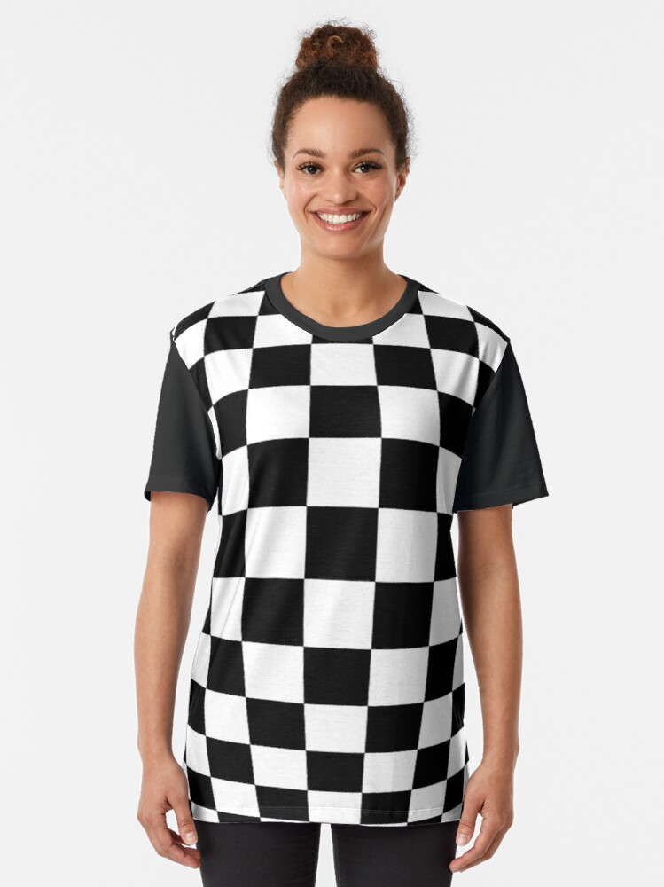 Alternate view of #black, #white, #chess, #checkered, #pattern, #flag, #board, #abstract, #chessboard, #checker, #square, #floor Graphic T-Shirt