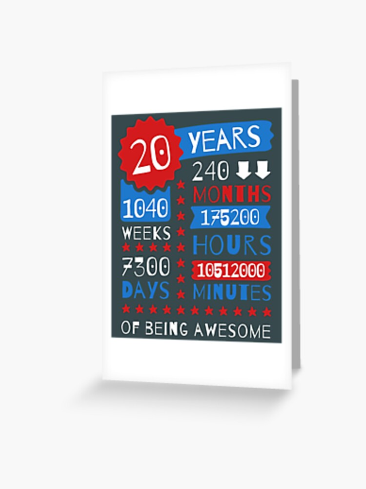 20 Years Of Being Awesome Splendid 20th Birthday Gift Ideas Greeting Card By Memwear Redbubble