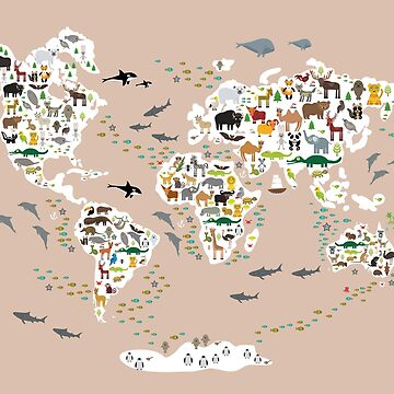 Cartoon animal world map, back to schhool. Animals from all over the world rosybrown background by EkaterinaP