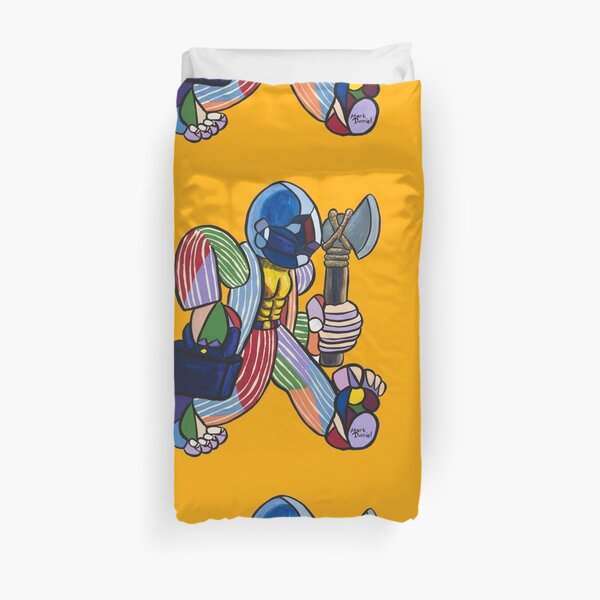 Working Warrior with Axe Duvet Cover