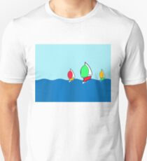Sailing boats with brightly coloured spinnakers T-Shirt