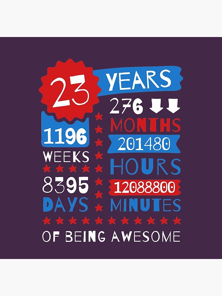 23 Years Of Being Awesome - Splendid 23rd Birthday Gift Ideas by MemWear