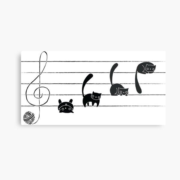 Musicats Notes Metal Print