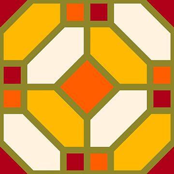 Geometric Pattern: Art Deco Tile: Sunset by redwolfoz