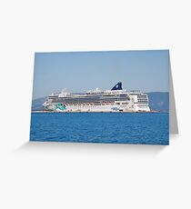 Norwegian Jade liner, Corfu Greeting Card