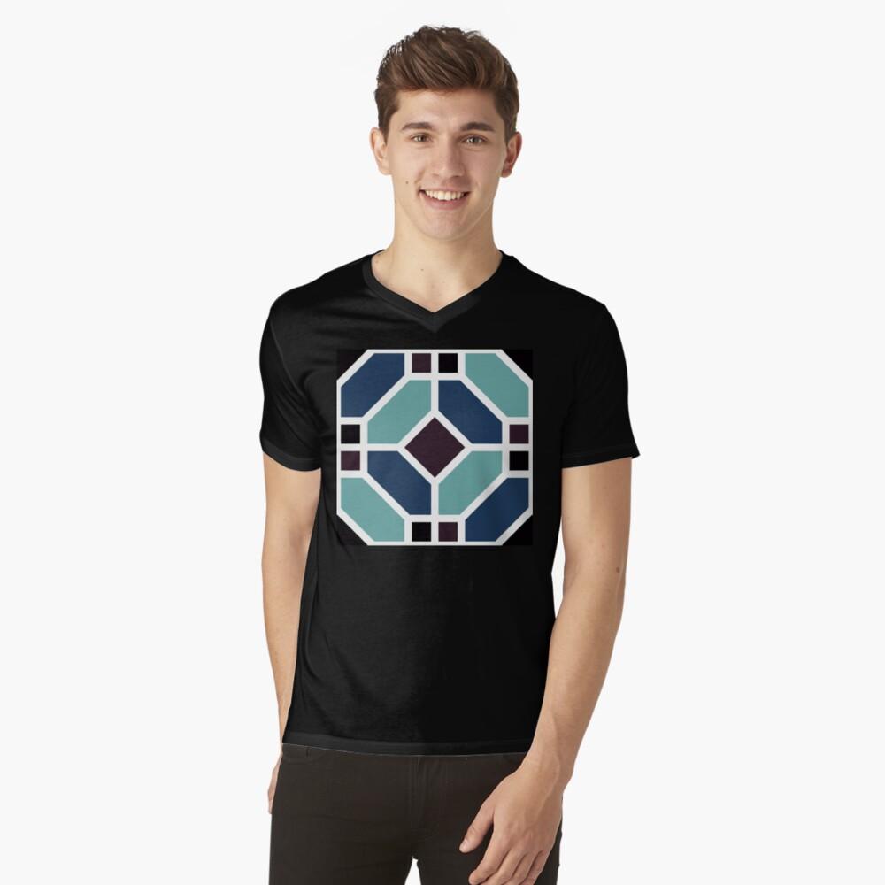 Geometric Pattern: Art Deco Tile: Midnight V-Neck T-Shirt