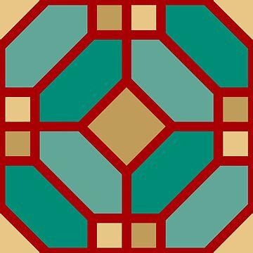 Geometric Pattern: Art Deco Tile: Turquoise by redwolfoz
