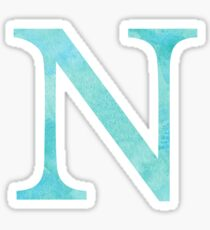 Teal Watercolor Ν Sticker