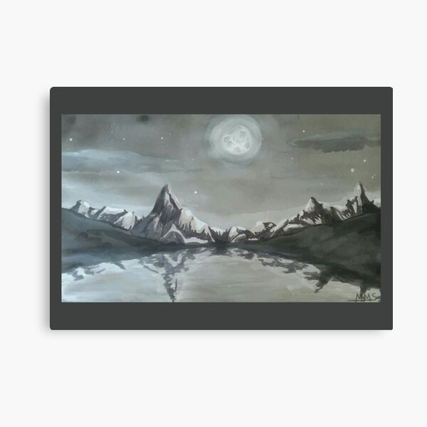 Moonlit mountain lake Canvas Print