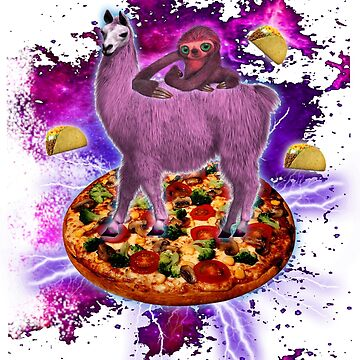 Space Sloth Riding Llama Unicorn - Pizza & Taco T-Shirt by mrwater12vn