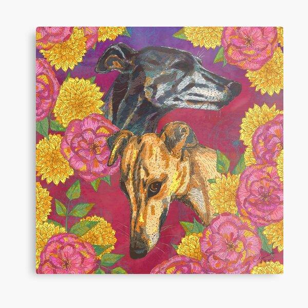 Floral Greyhound Girlies Metal Print