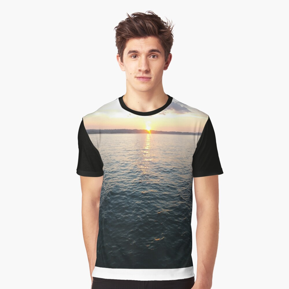 Sea, Water, Sunset, Reflection, #Sea, #Water, #Sunset, #Reflection Graphic T-Shirt Front
