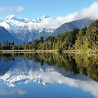 Reflection of Fox Glacier at Lake Matheson by Kathie Nichols