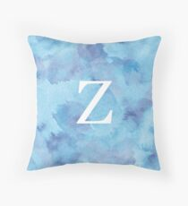 Sapphire Watercolor Ζ Throw Pillow