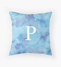 Sapphire Watercolor Ρ Throw Pillow