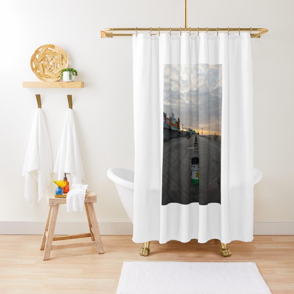 Morning, Coney Island Beach, #Morning, #Coney, #Island, #Beach, #ConeyIsland, #ConeyIslandBeach Shower Curtain
