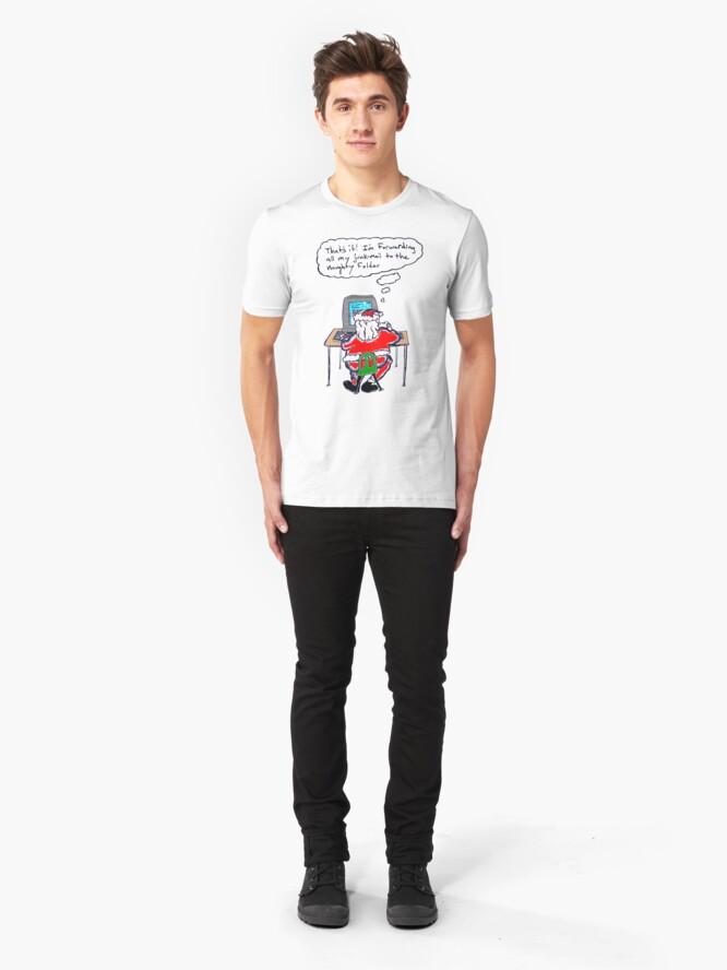 Alternate view of Santa's Inbox (color) Slim Fit T-Shirt