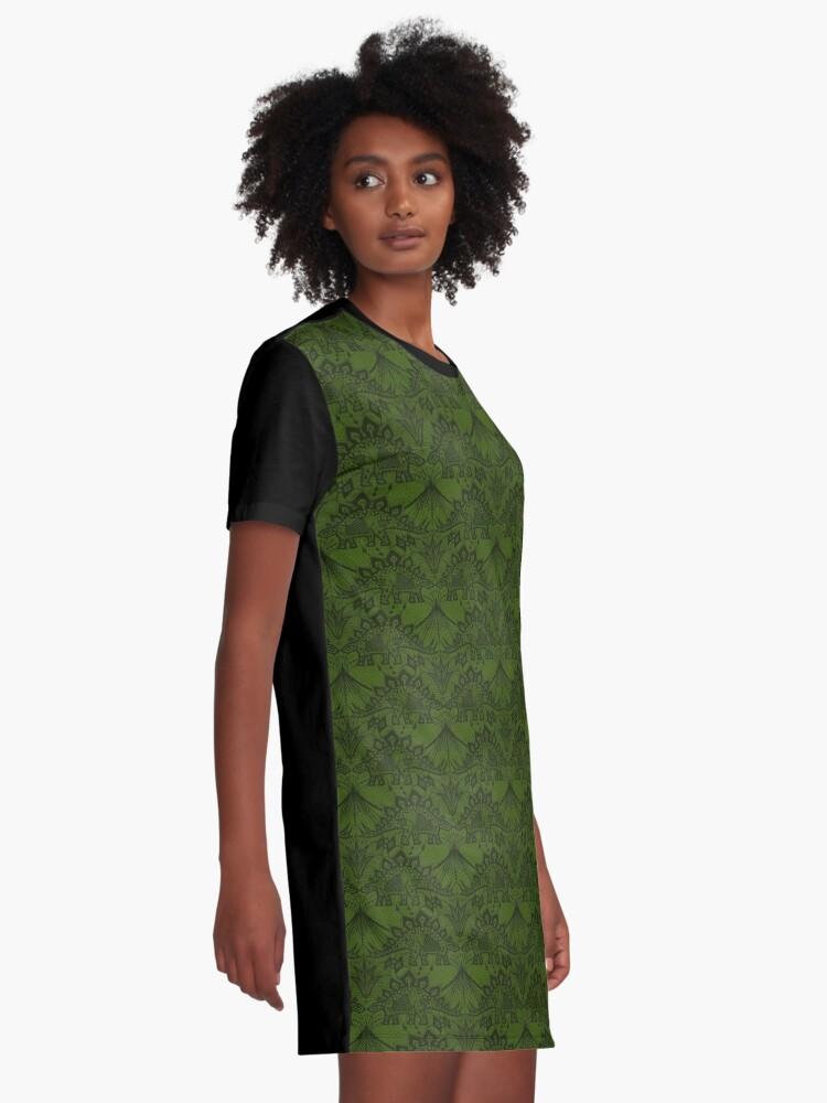 Alternative Ansicht von Stegosaurus Spitze - Grün T-Shirt Kleid